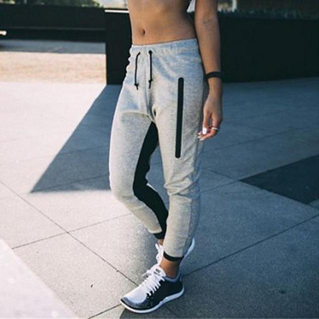 Мода женская спортивная одежда Повседневная Женская джоггеры спортивный костюм брюки спортивные штаны серые