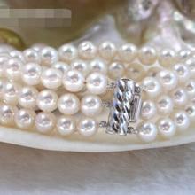 Природа 3row круглый белый жемчуг FW браслет 925ss@^ благородный стиль натуральный