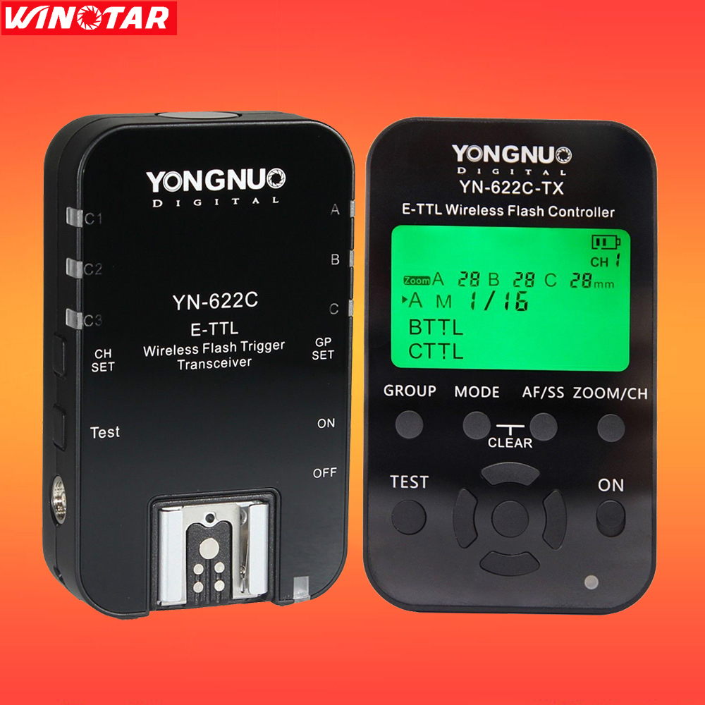 YONGNUO YN622C-KIT Wireless E-TTL HSS Flash Trigger Kit YN622C 622C Transceiver & YN622C-TX LCD Transmitter Controller For Canon yongnuo yn622c ii hss e ttl flash trigger for canon camera compatible with yn622c yn560 tx rf 603 ii rf 605