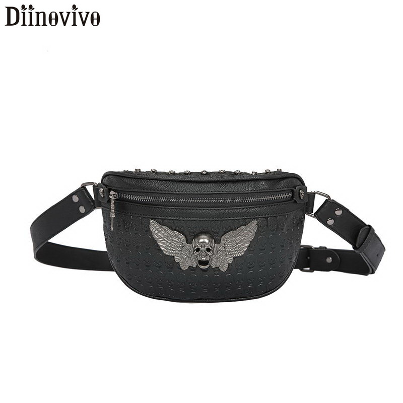 DIINOVIVO Skull Printing Wing Design Waist Bag Women Waist Pack Punk Rivet Fanny Pack For Women Belt Bags Chest Bum Bag WHDV1178