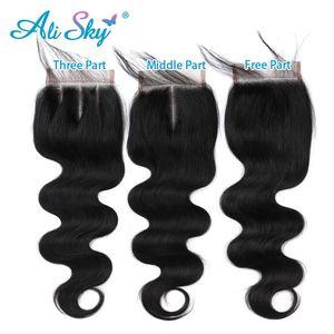 Image 4 - Alisky 인간의 머리카락 묶음 바디 웨이브 브라질 헤어 위브 4 묶음 레이스 클로저 레미 헤어 익스텐션 Pre Pluck