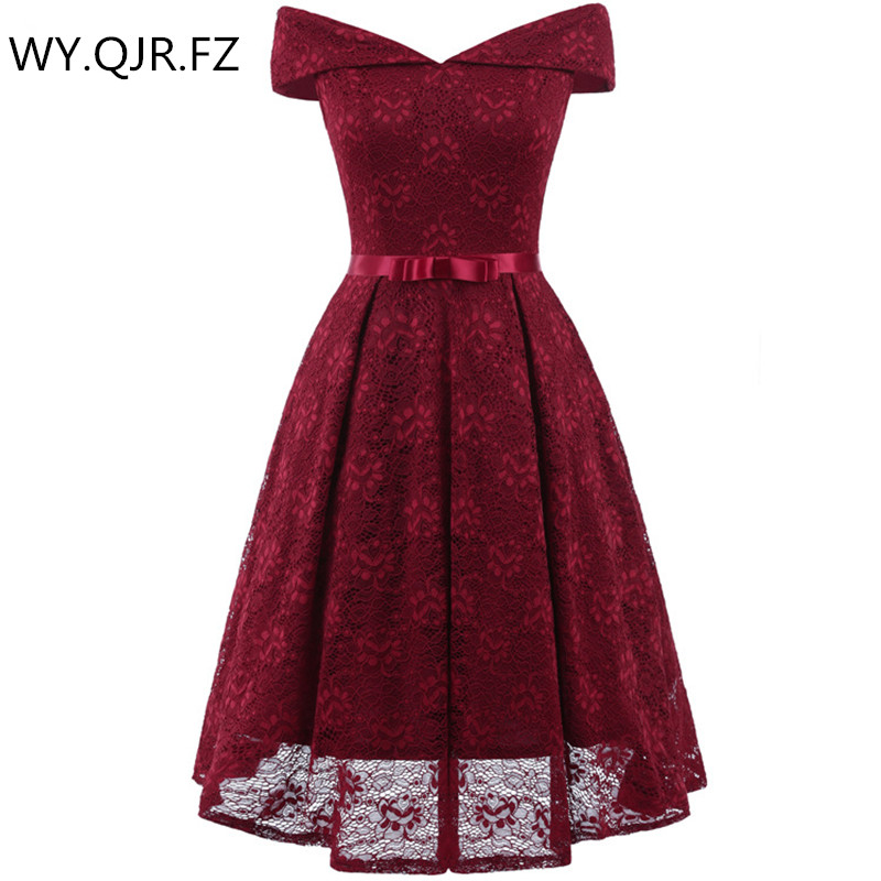 CD1603#Wine Red Boat Neck Bow Lace Sexy Ping Short Bridesmaid Dresses Bride Toast Wedding Party Dress Gown Prom Wholesale Clothi