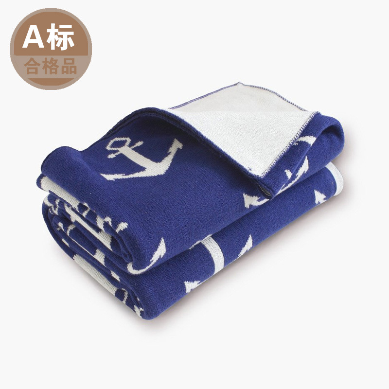 75X105cm Knitted Reversible 2layers Cotton Anchor Deer Baby Blanket Kids Blanket Nordic Navigation Navy Baby Stroller Cover