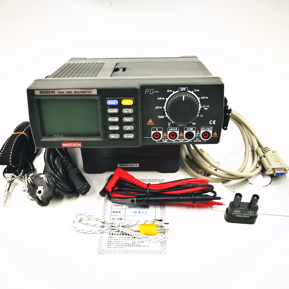 MASTECH MS8040 22000 Counts AC DC Voltage Current Auto range Bench multimeter True RMS Low-pass filtering With RS-232 Interface цена