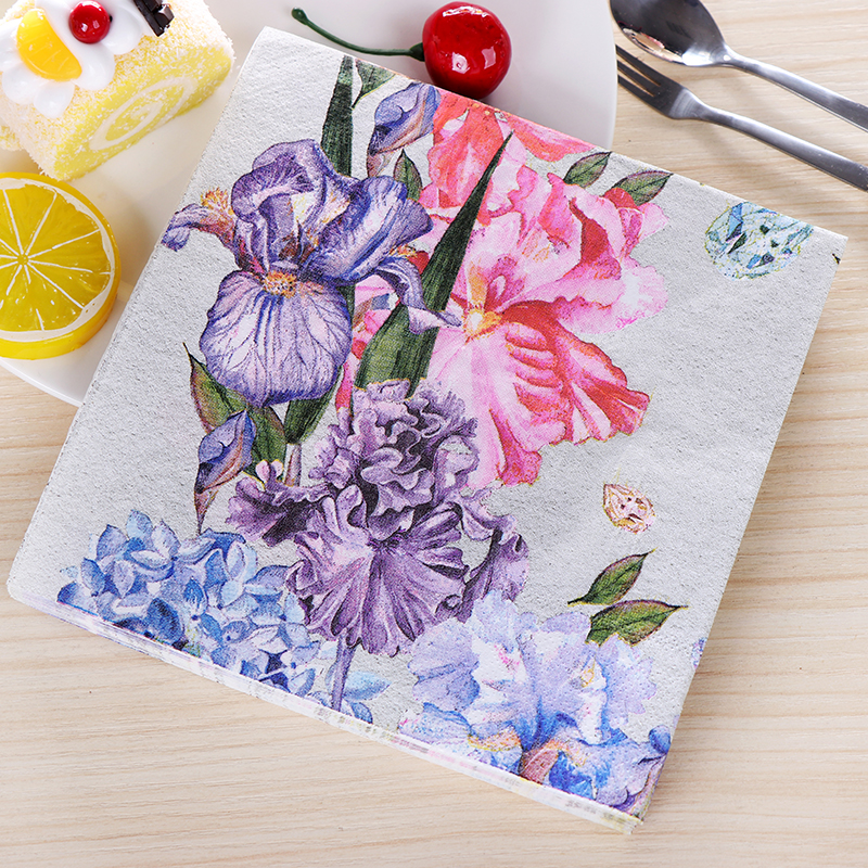 Vintage Design Flower Painting Paper Napkins Cafe & Party Tissue Napkins Decoupage Decoration Paper 33cm*33cm 20pcs/pack/lot ks luxury automatic self wind date day 24 hours black 3 dial steel strap mechanical wrist watches mens gents timepieces ks307