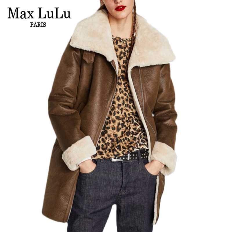 Max LuLu Luxury Brand Jaqueta De Couro Ladies Long Windbreaker Women's Faux   Leather   Jacket Warm Fur Clothing Woman Winter Coat