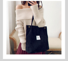 2019 Solid Corduroy Shoulder Bag Women Reusable Shopping Bags Canvas Casual Tote Female Handbag For Dropshipping цены