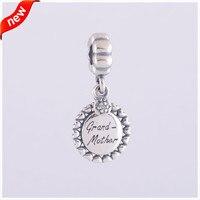 Authentic 925 Sterling Silver Bà Ngoại Rõ Ràng CZ Charm Hạt Phù Hợp Với Pandora Bracelet Châu Âu Charm DIY Đồ Trang Sức Mỹ LW310