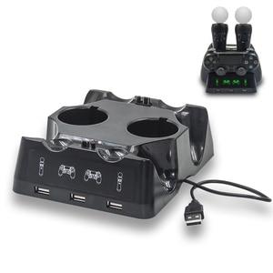 Image 2 - Светодиодный джойстик PS4 Move VR PSVR, зарядное устройство с подставкой, зарядная док станция для PS VR Move PS 4 Dualshock 4/Slim/Pro, геймпад
