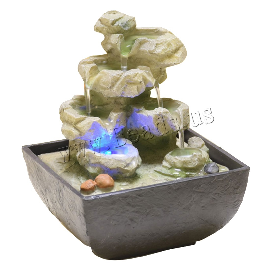Resin Decorative Fountains Indoor Water Fountains Creative Craft Desktop Home Decor With LED Light Fengshui Water Fountain in Figurines Miniatures from Home Garden