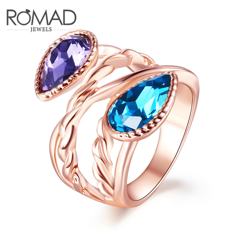Water Drop Twisted Rope Rose Gold Color Ring Antique Rings Puple Blue Color Cryst Rings Size 6 7 8 for Women Fashion Jewelry