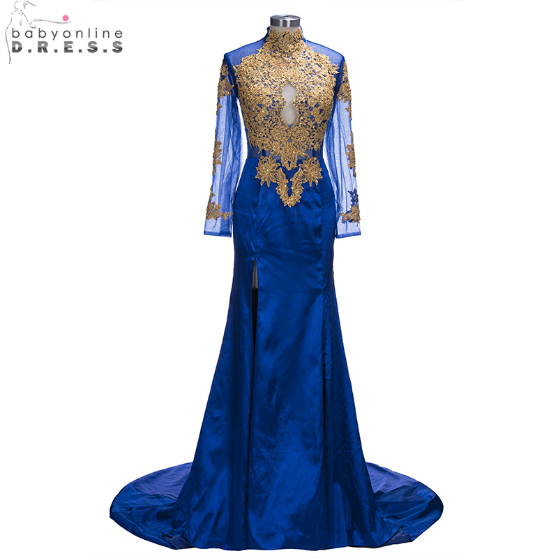 New Arabic Women High Neck Royal Blue Mermaid Slit Prom Dresses Long ...