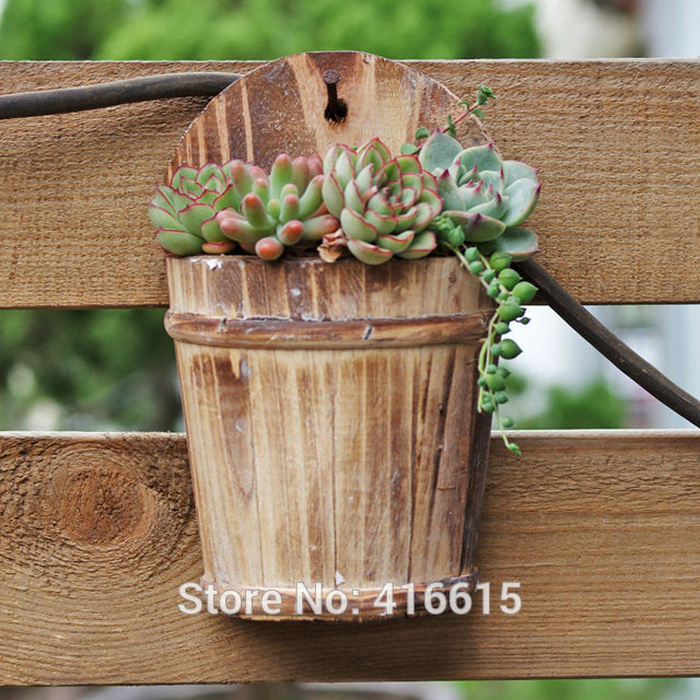 Home Decor Wall Decorations Wooden Meaty Plant Pot Wooden Vessel Succulent Plants Pots Wall
