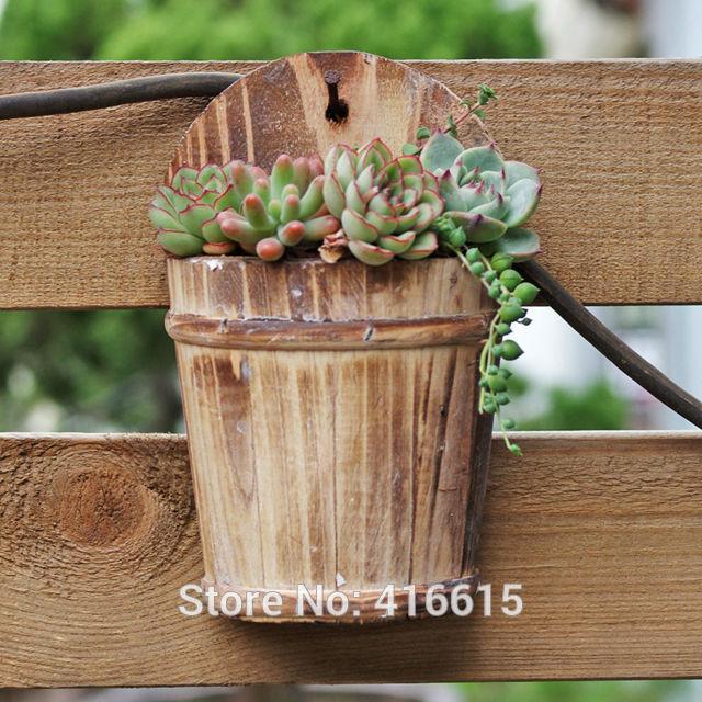 Online get cheap succulent wall planter for Wooden cactus planter