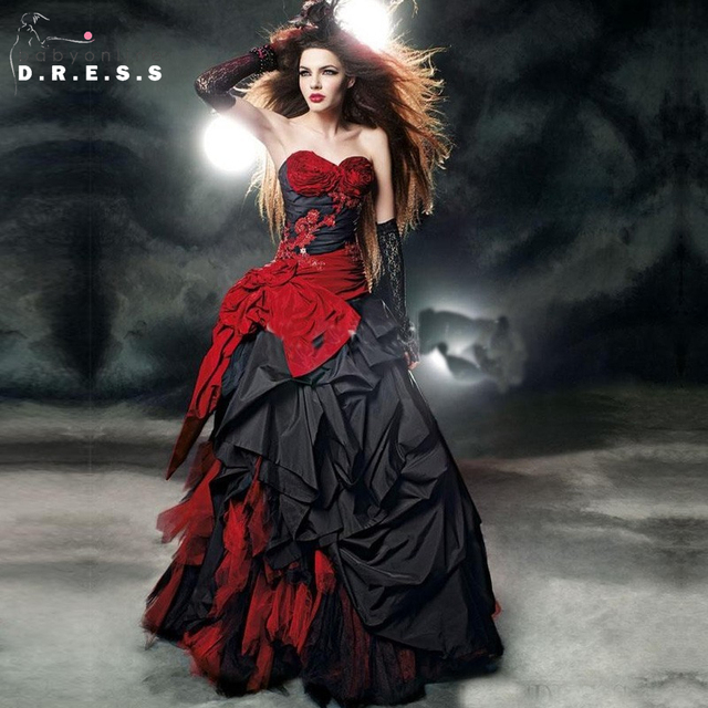 rojo y negro vestidos de novia góticos 2017 balón vestido de novia