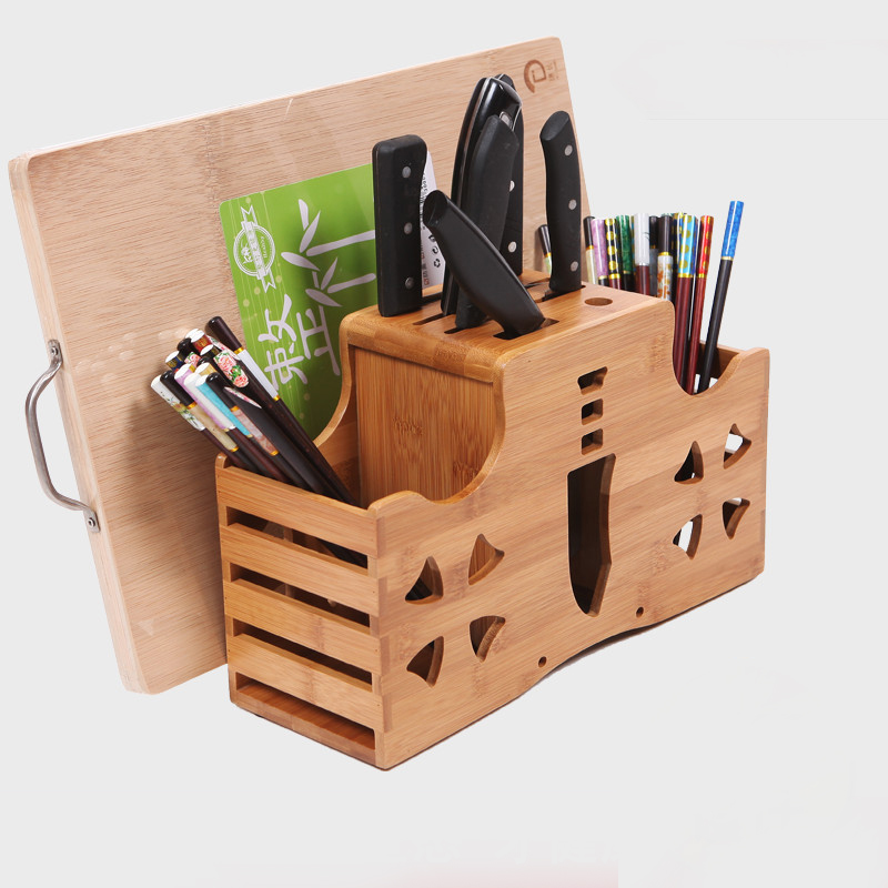 Creative Multifunctional Kitchen Accessories Knife Holder Health Bamboo Knife Block Ventilated Dry Knife Rack Storage Rack