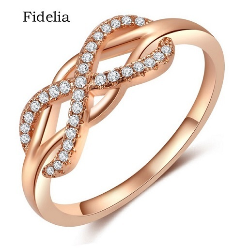 Fashion Infinity Love Rings Micro Inlayed Cross Rings For Women Wedding Cubic Zircon CZ Crystal Ring Rose Gold Color anil