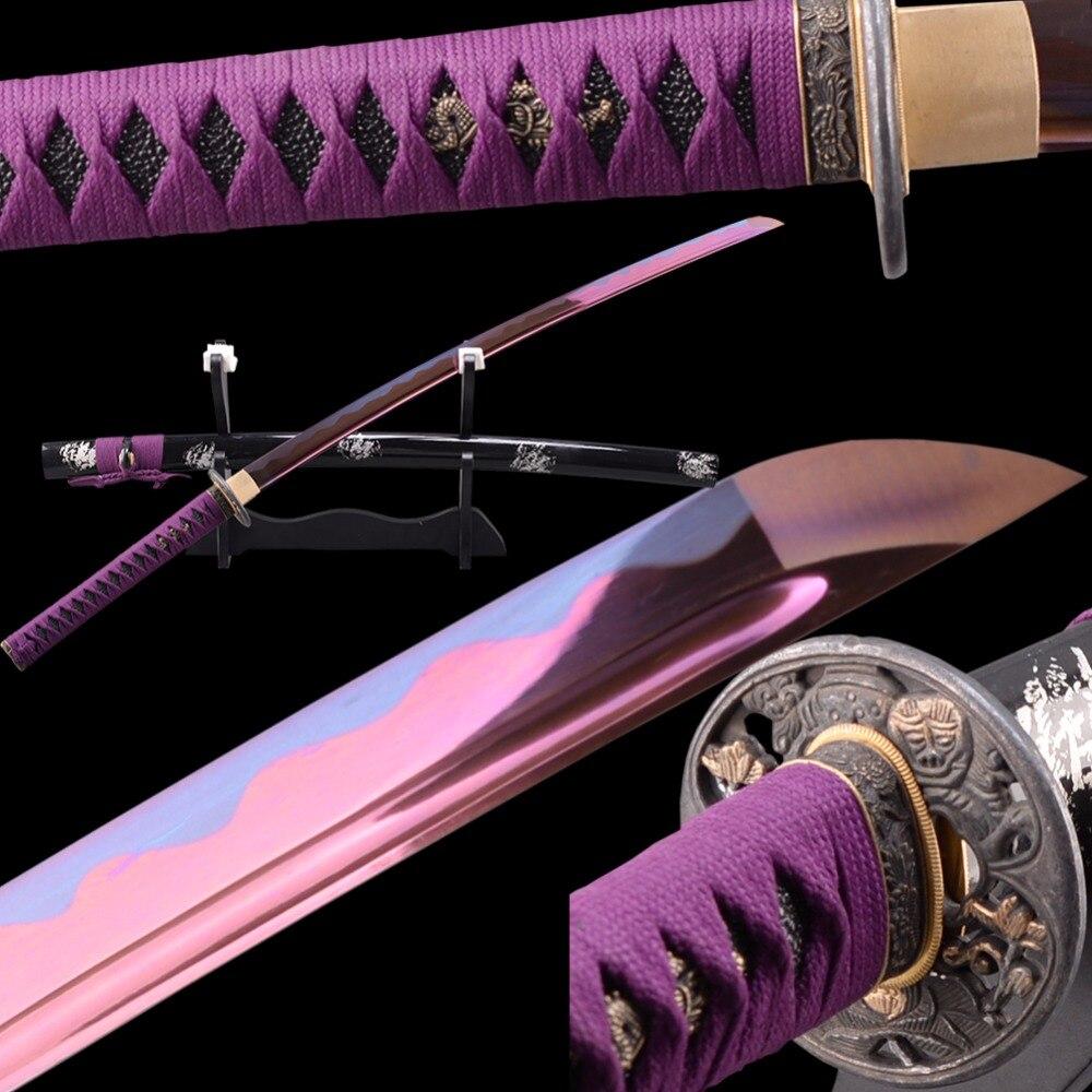 Brandon espadas roxo japonês samurai katana manganês aço completo tang lâmina afiada batalha pronta genuína katana prática de corte