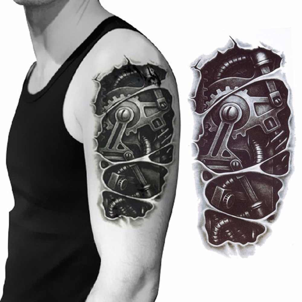 3D mechanical arm fastening nut tattoo sticker for men arm hand body warterproof Temporary Tattoo tatuagem