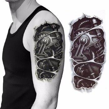 3D mechanical arm fastening nut tattoo sticker for men arm hand body warterproof Temporary Tattoo tatuagem