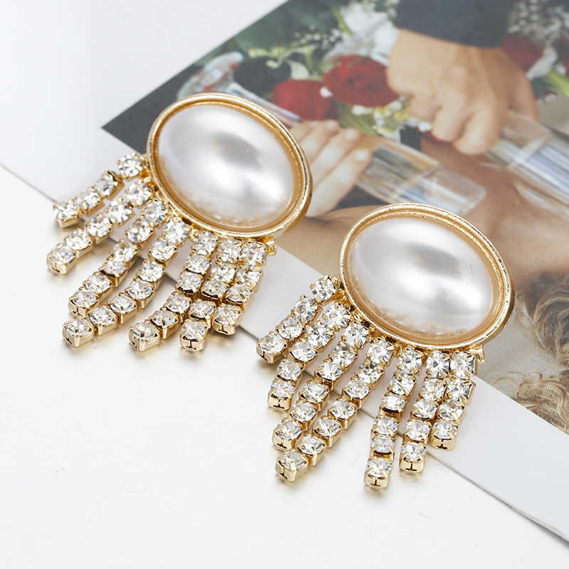 Flashbuy Fashion Crystal Tassel Gold Drop Earrings For Women Geometry Exaggeration Earings Wedding Party Trend Jewelry