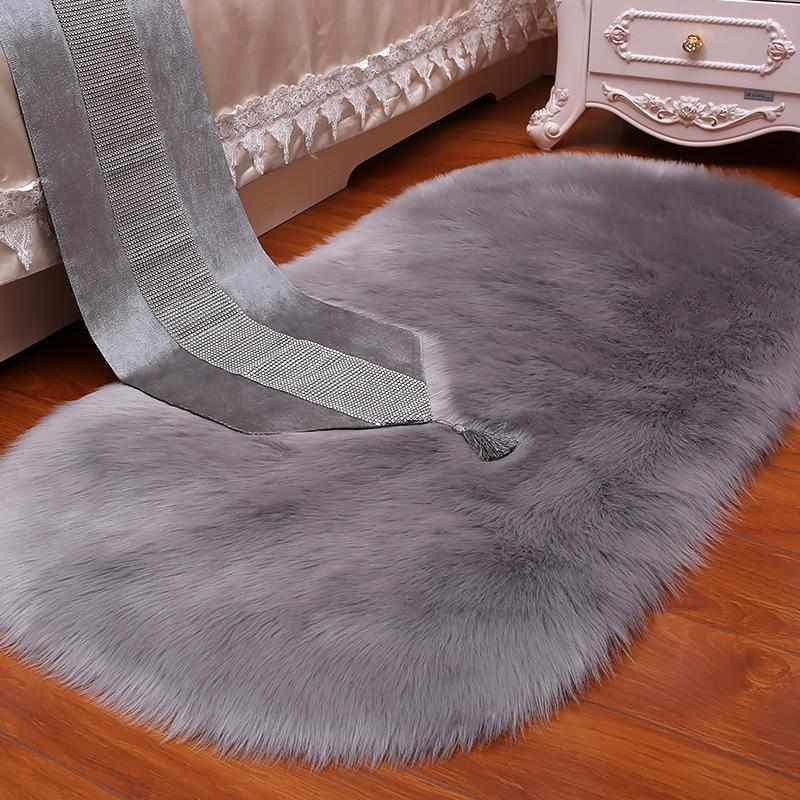 White Grey Plush Faux Fur Fluffy Wool Oval Carpet Area Rug Living Room Bedroom Bedside Carpets Shop Window Home Decoration Mat