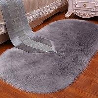 White Grey Plush Faux Fur Fluffy Wool Oval Carpet Area Rug Living Room Bedroom Bedside Carpets Shop Window Home Decoration Mat|Carpet| |  -
