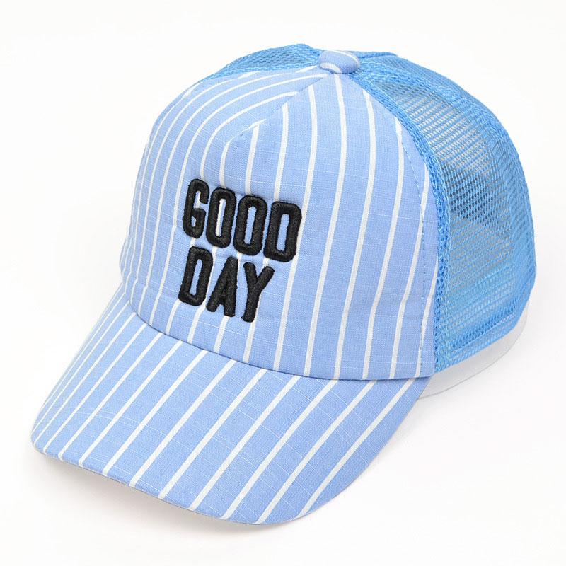 Unisex Child Mesh Patchwork golf Baseball Cap Summer Letter design Adjustable stripe Baseball ball Hat Kids chapeau MZ5812