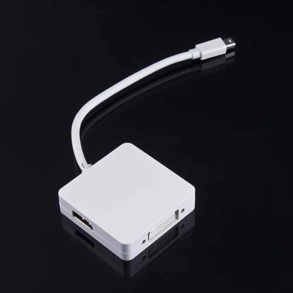 3 in 1 Thunderbolt Mini Displayport to DP HDMI DVI Adapter Cable For MAC pro AIR
