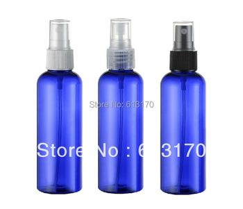 100ml blue round shoulder empty spray bottle liquid travel pet sprayer bottles cosmetic packing container free shipping