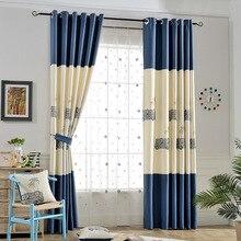 100% Dos Desenhos Animados de Poliéster cortina de tecido para sala de estar/quarto Decoração impressão Plena Luz Sombreamento para sala de leitura