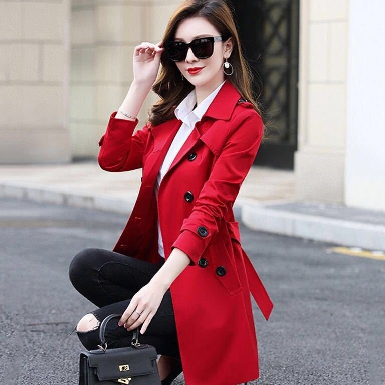 Big Size 6XL Spring Autumn Women Classic Double Breasted Mid-long   Trench   Coat Female Slim Street Windbreaker Business Outerwear
