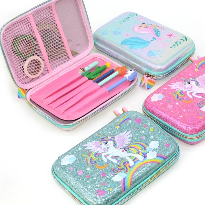 Pencil Case School Supplies Glitter Trousse Scolaire Stylo Estojo Escola Large Pencilcase Piornik Szkolny Cute Unicorn Box