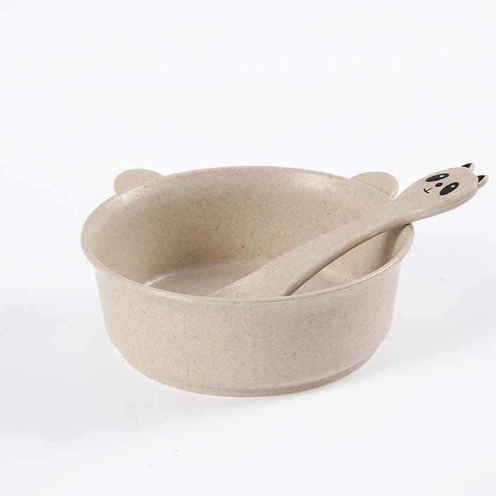 4 цвета пшеничная соломенная детская чашка, столовая посуда набор мультяшная ложка прекрасный фруктовый поднос сетки чаша набор детской посуды посуда