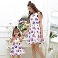 Hija de la madre Vestidos 2017 Colorful Polka Dots Vestido para Los Niños y Las Mujeres Del Verano Vestidos de Gasa Madre Hija Trajes A Juego