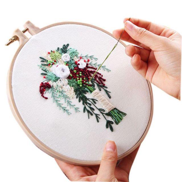 Flor tema bordado con herramientas Kit DIY Margarita flor patrón ...