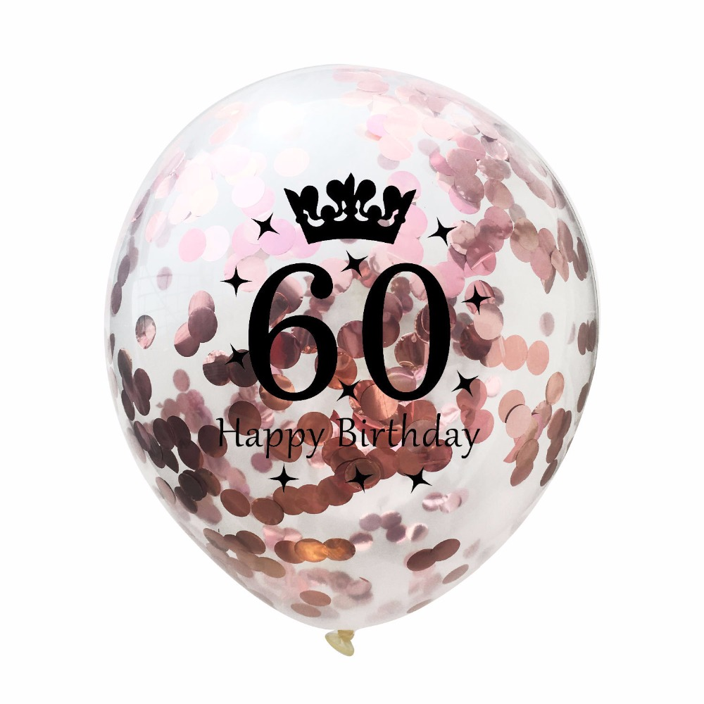 10pcs Transparent Crown Balloons With Confetti Happy Birthday 30th 40th 50th 60th Party Decorations Supplies In Ballons Accessories From