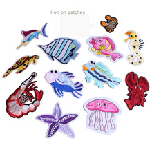 12pc/set sea animal embroidery patches kids applique for clothing DIY sewing iron on embroidered decorative parches