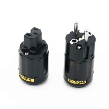 цены 1pair P004E +C004 Rhodium plated EUR schuko AC EU power plug C004 IEC power connector