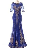 Vestido De Festa Royal Blue Sequins Dress for Mother Bride Dresses Short Sleeves Long Groom Mother Dresses Wedding