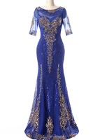 Vestido De Festa Royal Blue Sequins Dress for Mother Bride Dresses Short Sleeves Long Groom Mother Dresses Wedding