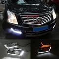 Com a Função de Sinal de volta 12 V Carro LEVOU Luz Do Dia DRL Kit Para Cadillac SRX 2012-2016 LED DRL Daytime Running Luz de Nevoeiro Tampa Da Lâmpada