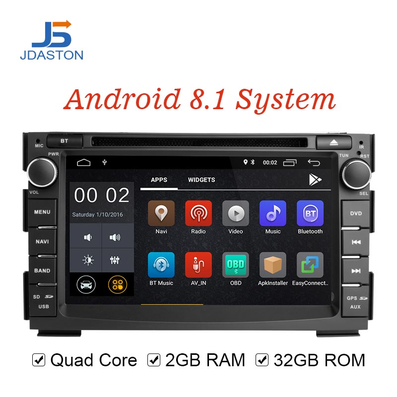JDASTON Android 8.1 Car Multimedia Player For Kia Ceed 2009 2010 2011 2012 2 Din Car Radio GPS Navigation DVD WIIF Stereo Audio