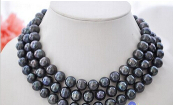 xiuli 001836 AA++ 48 11-12mm black round Freshwater cultured pearl necklace 14KGP 50 12mm round black freshwater cultured pearl necklace