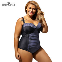 Hotapei plus size One Piece Swimsuits Black Sheer Lace Insert Ruched Bikini Set LC410028 women 2018 sexy swim wear Bathing Suits