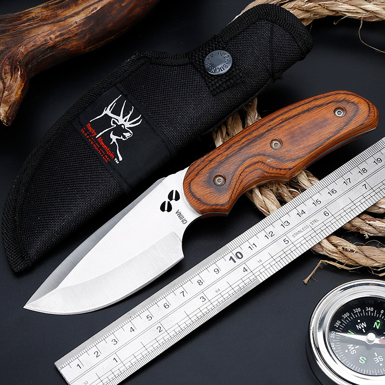 Ganzo High Hardness BK Color Wood Camping Straight Knife Wild Survival Multi-function Outdoor Knife, Carry Small Straight Knife