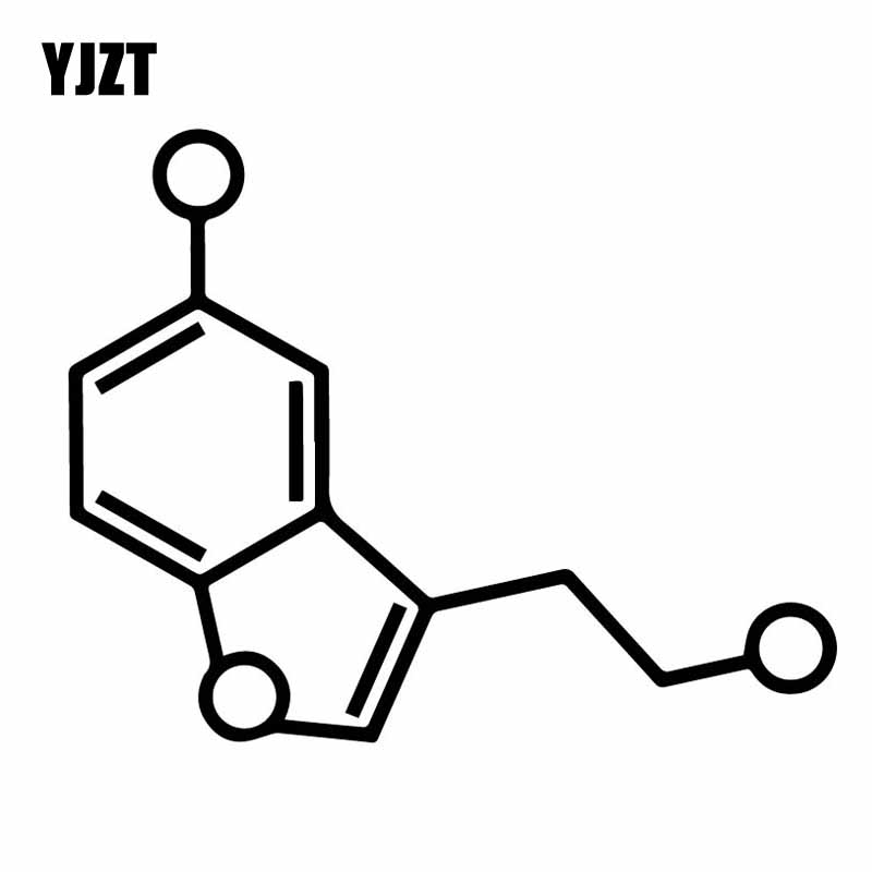 YJZT 15.6CM*12.4CM Serotonin Molecule Chemistry Car Sticker Simple Delicate Vinyl Decal Black/Silver C27-0148