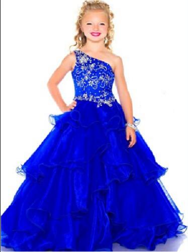 Stock Size Royal Blue Birthday Party Formal Occasion Gowns Little Girls Dress in stock layered pre teen party gowns little girls pageant dress pink color
