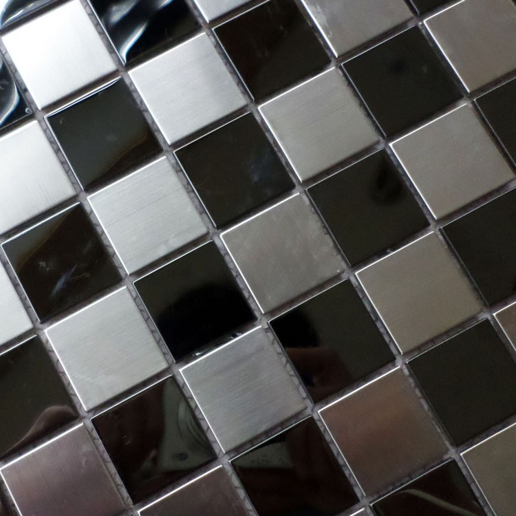 US $239.99 |30mm square silver mixed black chess board stainless steel  metal tiles for kitchen backsplash wall mosaic tiles HME8101-in Wall  Stickers ...