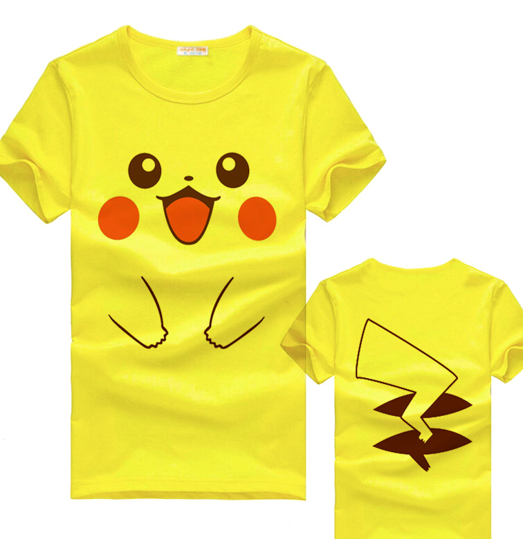 The Pokemon Pikachu of Smiley face cotton yellow T-shirt women/men 5 color tshirt Anime T shirts